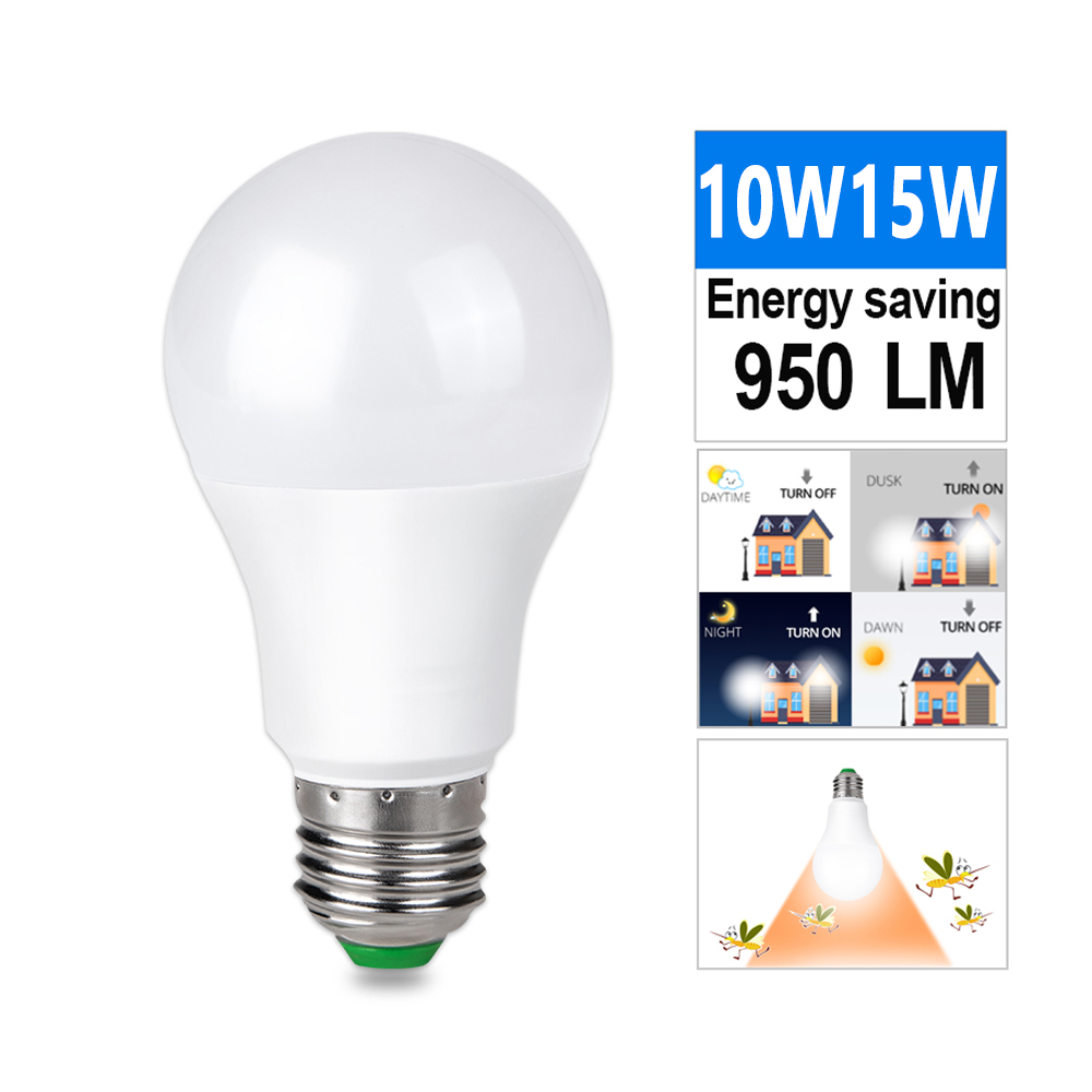 E27 Ampoule Led Sensor Light Bulb E27 Lamp 10w 15w 85 265v Dusk To Dawn Light Mosquito Repellent Bulb Bombilla Ampoule Led For Home Lighting