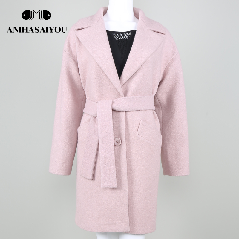 Spring Autumn Women Pink Solid Wool Jacket Coat Female Winter Woolen Long Coat European  ...