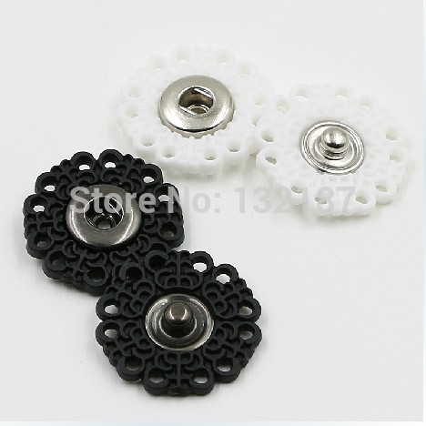 Wholesale 80sets/lot Nylon plastic sew on press button Flower snap button fasteners 4 sizes Black/White free shipping SF-027
