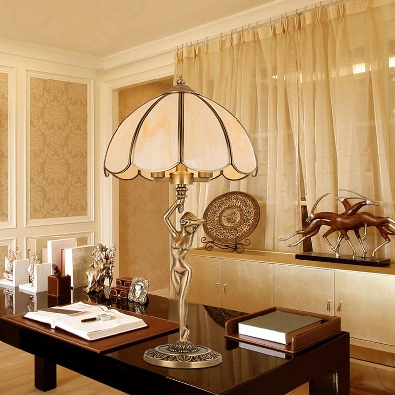 Contemporary Table Lamp Bedroom Led Table Lamps Study Decorative Light Copper Retro Desk Lamp Brass Table Lights Vintage Loft