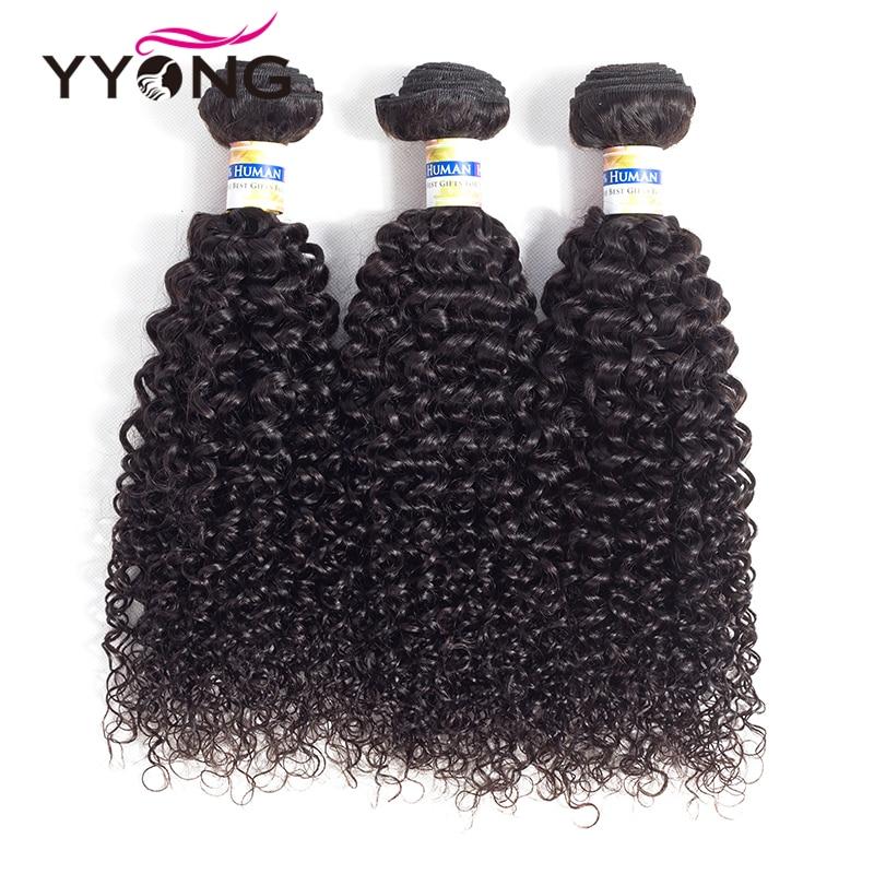 Yyong Brazilian Curly Wave 100% Human Hair Weave Bundles Non Remy Hair Weaving 3Pcs/Lot Natural Color 8-26 Hair Extension Deals