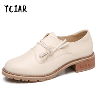 Spring And Summer British Style Genuine Leather Flat Shoes Women Breathable Women Flats Casual Shoes Shoe