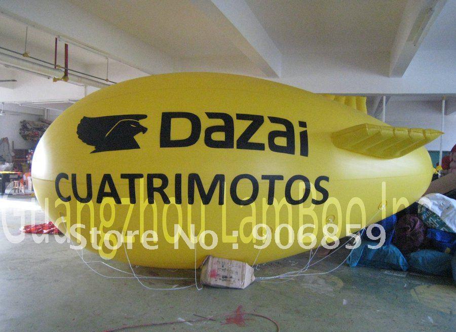 13ft длинный желтый надувной реклама дирижабль/надувные дирижабль/сплошной цвет с большой буквы логотип для событий