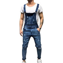 Litthing Fashion Men's Ripped Jeans Jumpsuits Hi Street Distressed Denim Bib Overalls For Man Suspender Pants Plus Size S-XXXL(China)