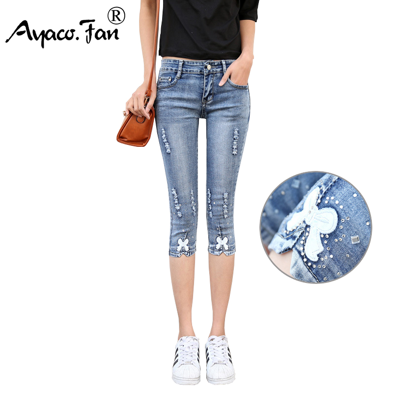 Summer 2017 Women Calf-Length Blue Jeans Students Stretch Skinny Bow Female Slim Pencil Pants Appliques Denim Ladies Trousers spring summer autumn ladies full length jeans students stretch skinny female slim pencil pants denim ladies trousers yn301