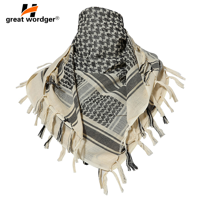 100% Cotton Tactical Desert Arabic Scarf Men Arab Military Keffiyeh Scarf Thick Muslim Hijab Windproof Hunting Hiking Head Scarf