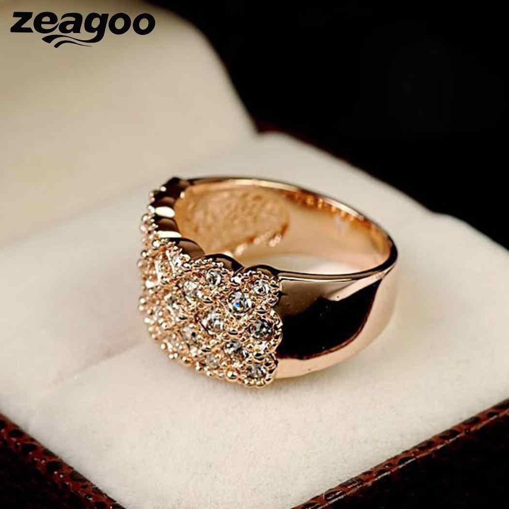Wide Women Gold Ring Plated Artificial Engagement Wedding Diamond