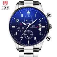 TSS Reloj de Los Hombres Casual Hombres de Lujo de acero Inoxidable Relojes de Cuarzo Reloj de Pulsera CRONÓGRAFO y 24 horas de Función de Reloj Deportivo Relogio