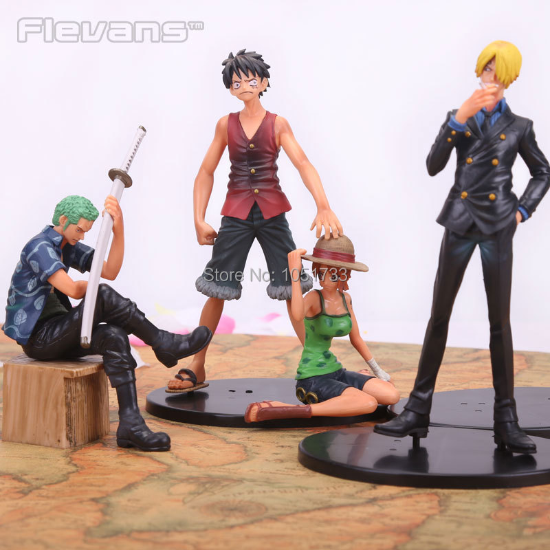Anime One Piece Luffy Zoro Sanji Nami PVC Action Figures Collection Model Toys 4pcs/set hot sale 26cm anime shanks one piece action figures anime pvc brinquedos collection figures toys with retail box free shipping