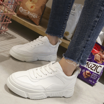 White Beige Sneakers 2019 New Women Vulcanize Shoes Fashion Women Flat Walking Shoes Casual Lace Up Thick Bottom Shoes