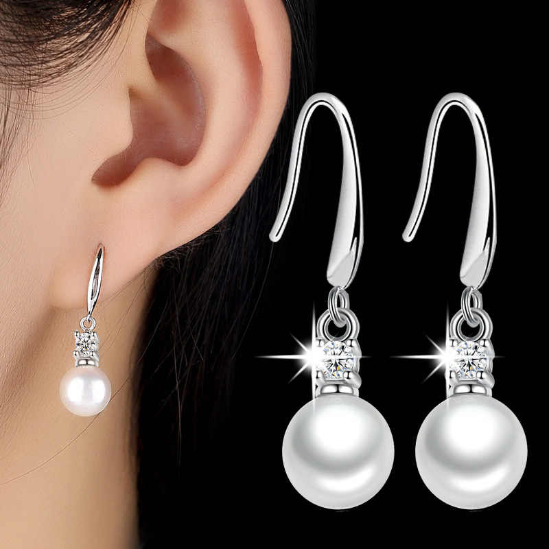 XIYANIKE 925 Sterling Silver Inlaid Zircon Earrings Imitation Pearls Earrings Fashion Wedding Jewelry For Women Gift New VES6452