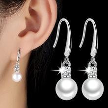 XIYANIKE 925 Sterling Silver inkrustowane cyrkonią kolczyki perłowe kolczyki moda biżuteria ślubna dla kobiet prezent nowy VES6452