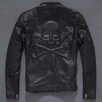 MENTIME Thời Trang Sọ Genuine Leather Vintage Đàn Ông Da Đen Skull Da Xe Gắn Máy Áo Khoác Cộng Với Kích Thước S đến XXXL Slim Fit Biker