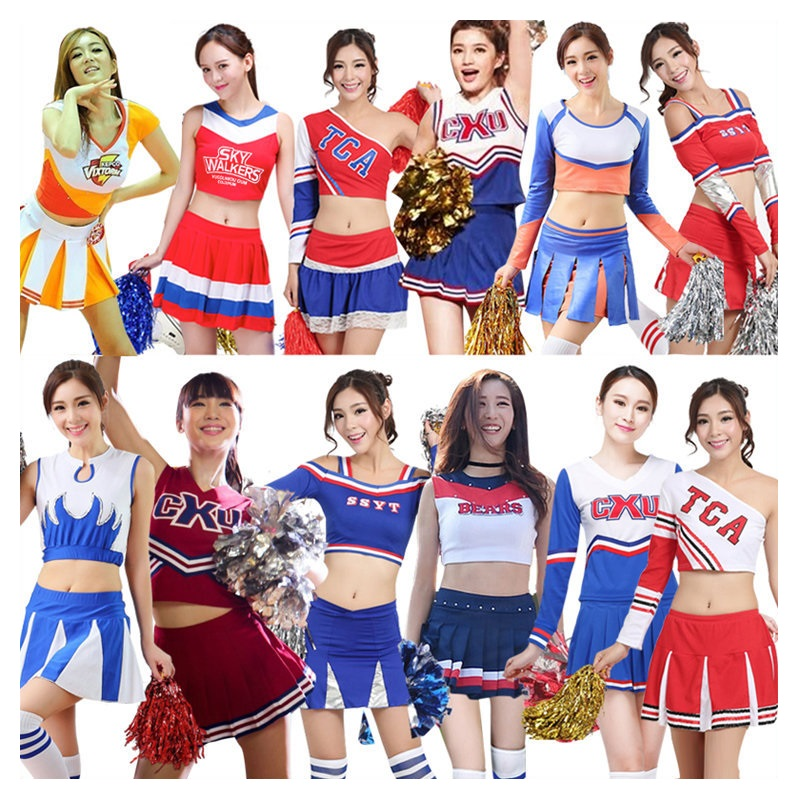 Cheerleader Costume Women Football Baby Lady Cheerleading Costumes Boys Girls Stage Performance Dresses Men Kids Adults Uniforms