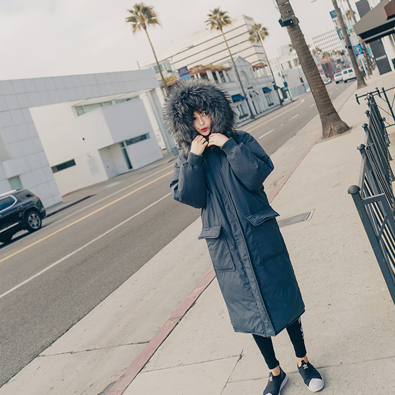 Moyen Fourrure grey Col Creamywhite Capuchon D'hiver Femmes Chaud Mode Coton Manteau Blue Solide Longueur Taille Nuw63 Grande Lâche De 2018 À Couleur wrwIYRq