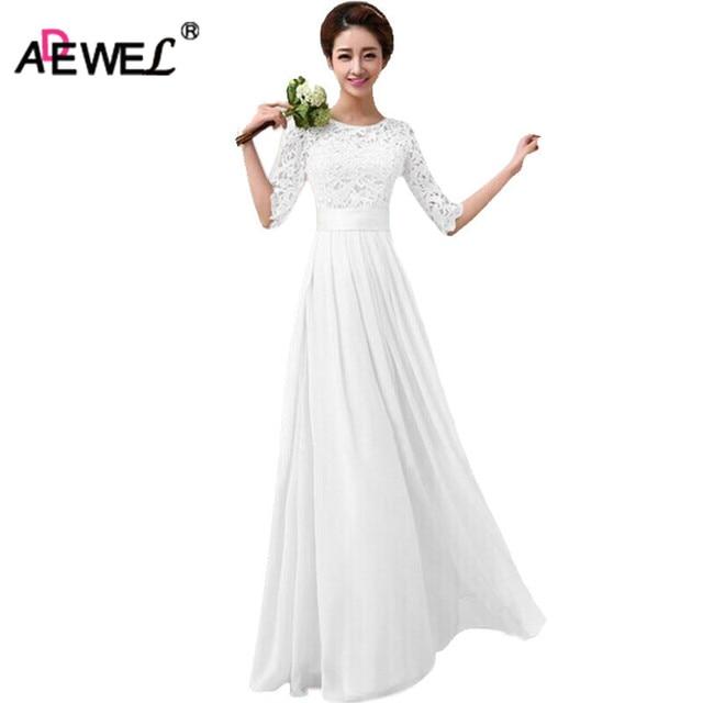 30f90892de7ac Adewel أعلى جودة النساء رسمية ملابس العروسة فستان ماكسي نصف كم طويل الرباط  فستان الزفاف حزب