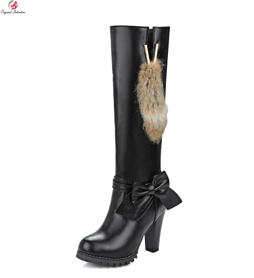 Original Intention Women Knee-High Boots Nice Bowtie Round Toe Square Heels Black White Brown Wine Red Shoes Woman US Size 4-13 original intention nice fashion women knee high boots round toe square heels boots beautiful black shoes woman us size 3 5 13