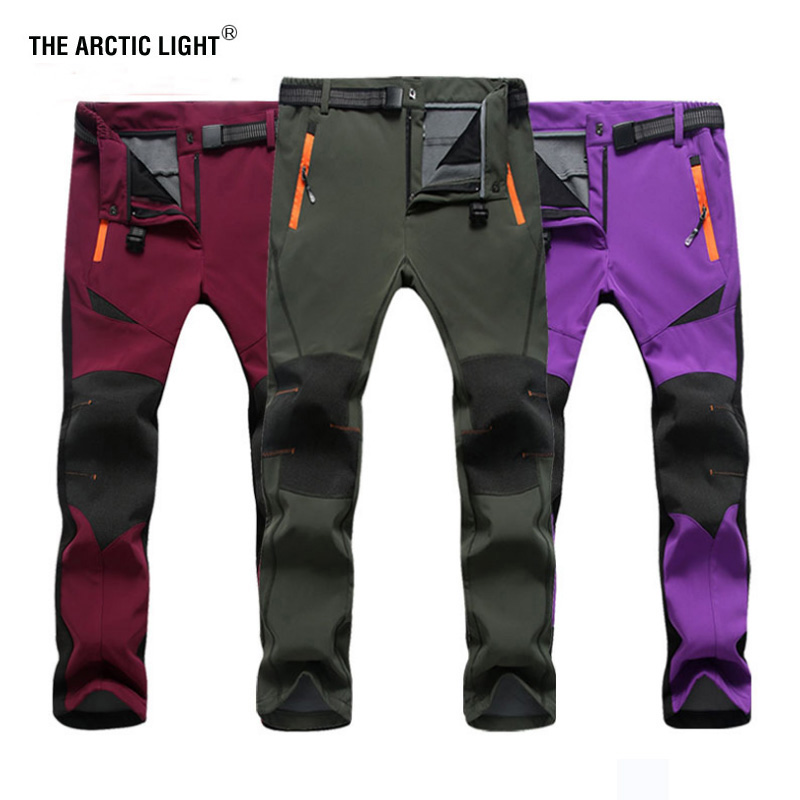 THE ARCTIC LIGHT Pantalones de esquí para exteriores Cáscara de Sofe Senderismo y acampar Mujeres y hombres Fleece deportivo Pantalones de escalada Hombres Mujeres Caza de invierno