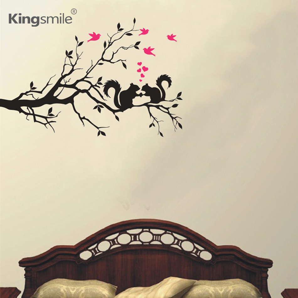 online buy wholesale nature wall sticker from china nature wall  - tree branch squirrels and birds nature wall stickers vinyl decals artanimal posters bedroom living room