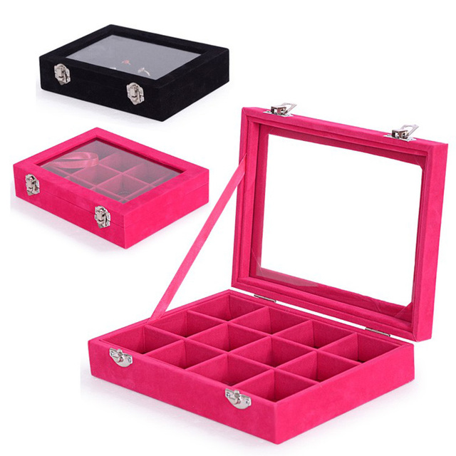 New 12 Grid Portable Jewelry Box Velvet Jewelry Display Holder Small