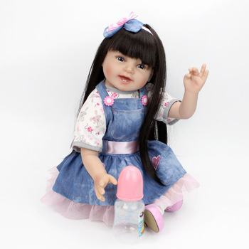 "55cm 22""Silicone Reborn Dolls lifelike soft silicone vinyl newborn modeling dolls princess Toys Kids surprise Birthday Gifts"
