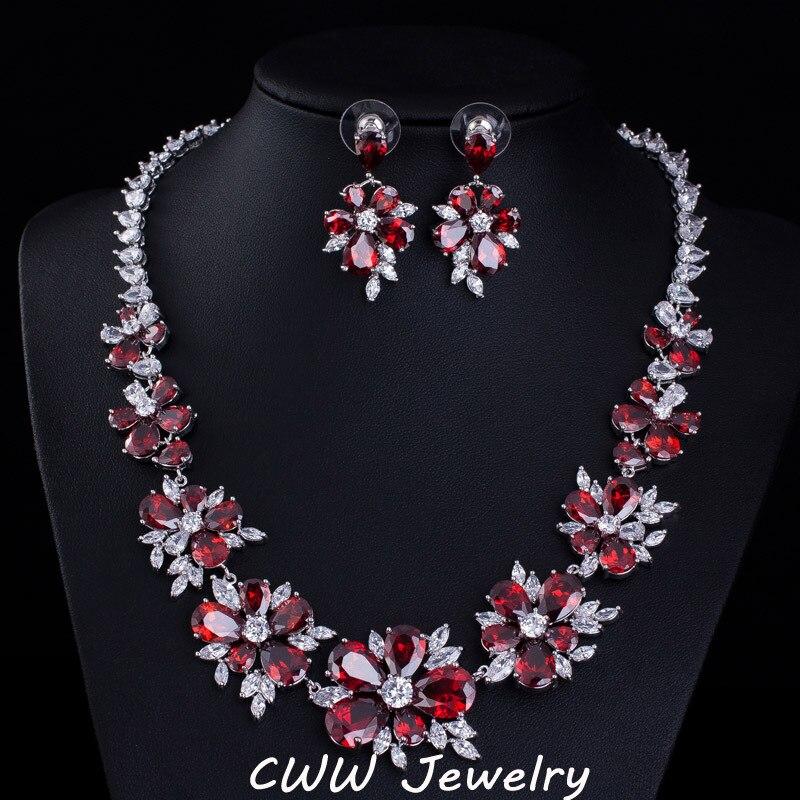 Cz Wedding Sets.Cwwzircons Blue Cz Bridal Jewelry Big Cubic Zirconia Stone Flower Wedding Choker Necklace Earrings Sets For Women T153