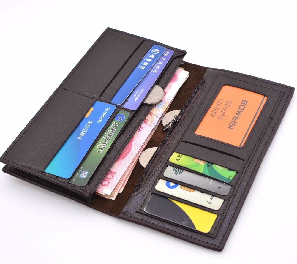 2018 New comes BOVIS Men's leather wallet with 10 card slots casual style long money bag Bifold Slim Fashion Male Carteira bovis 5102 02 casual man s pu credit name card wallet slots coffee