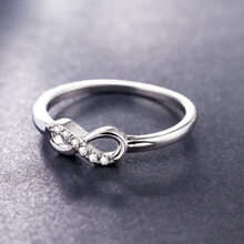 Fashion 925 sterling silver jewelry CZ Crystal Infinity Endless Love 0.5ct 8 shape Wedding Rings For Women anel feminino Jewelry(China)
