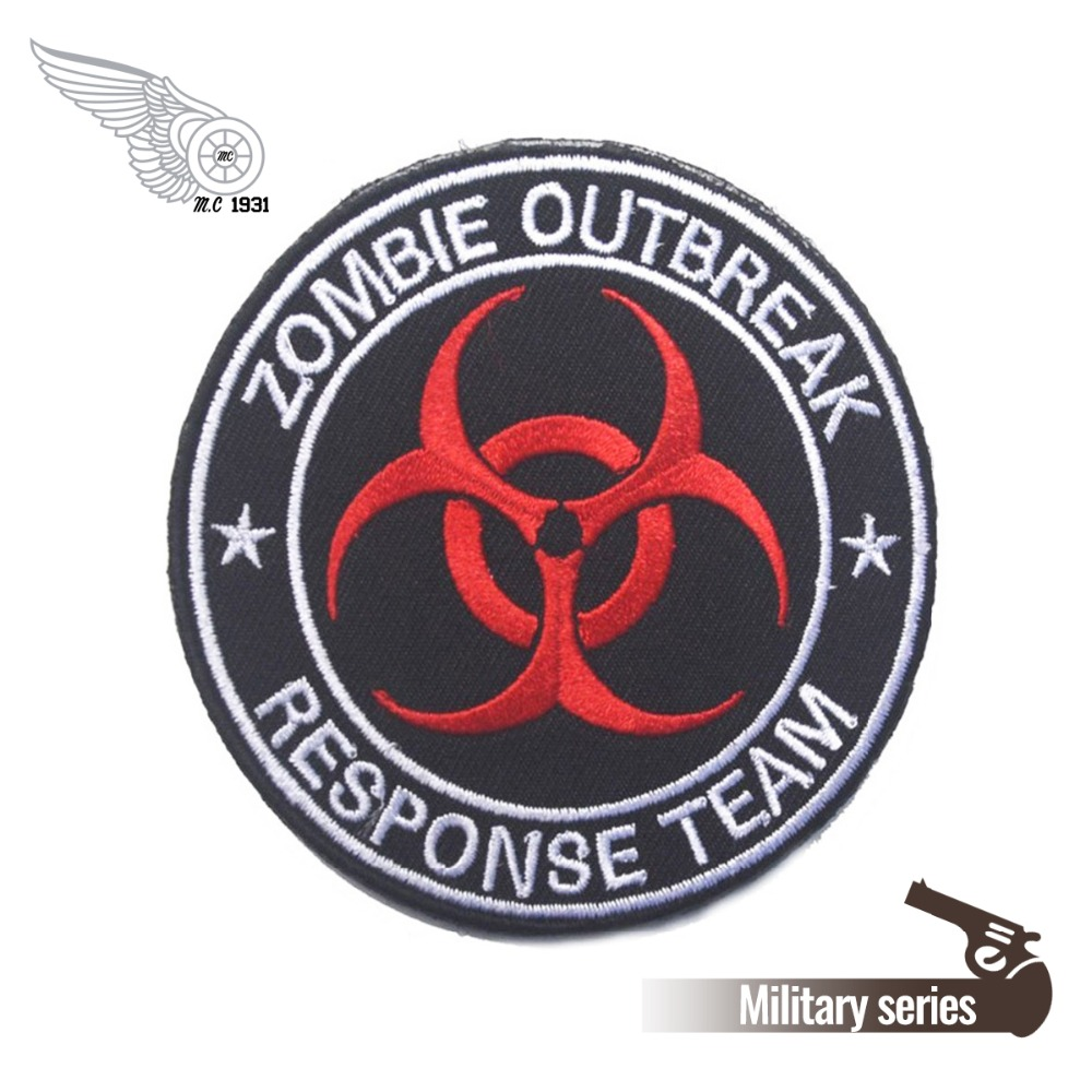 1 NEW CUSTOM ZOMBIE OUTBREAK RESPONSE TEAM BADGE EMBLEM RED BLACK WHITE