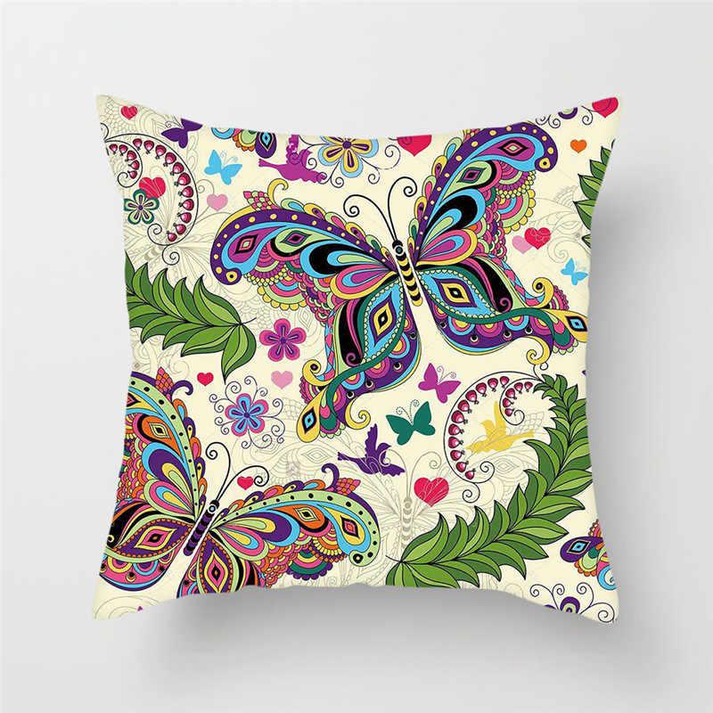 Fuwatacchi لطيف فراشة وسادة يغطي الحيوان زهرة وسادة غطاء ل أريكة كرسي ديكور المنزل لينة pillow45 * 45 سنتيمتر