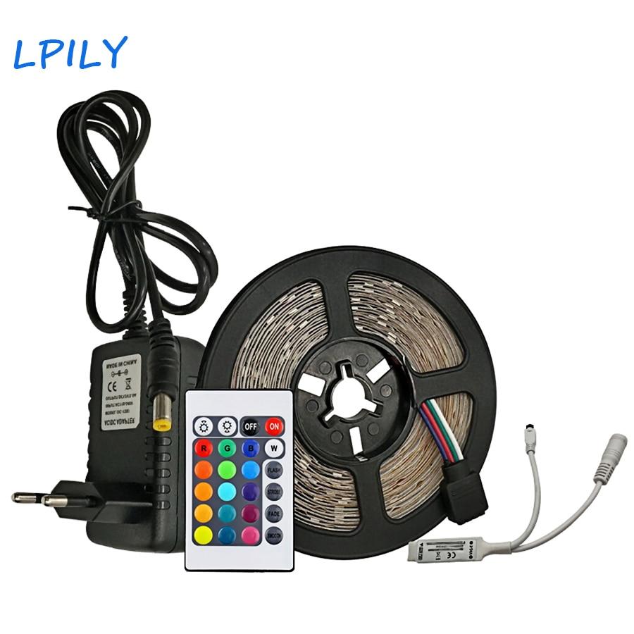 LPILY 2835 RGB LED de luz de tira de Led impermeable cinta 5 m 10 m 15 M 20 m SMD LedStrip cinta casa Fiexble DC12V adaptador decoración conjunto