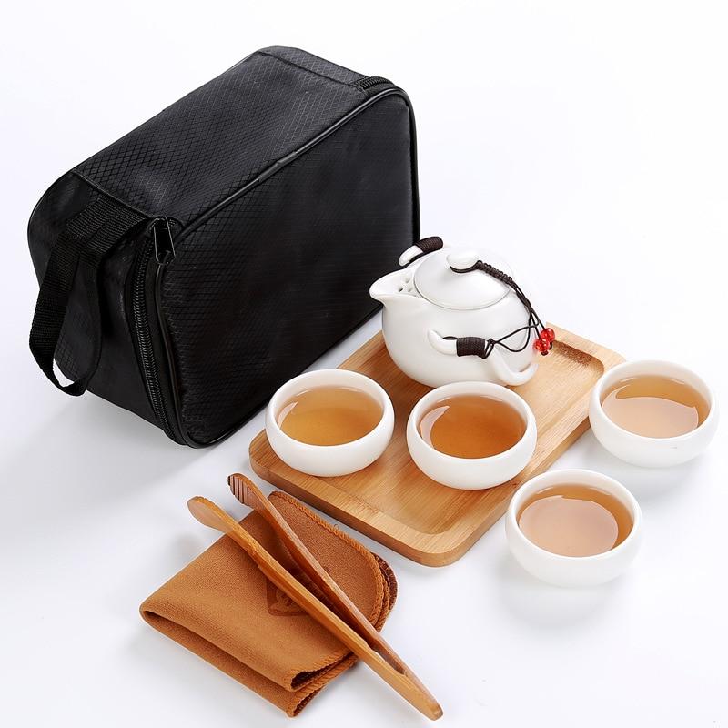 Portable travel tea set,1 pot+4 cups+1 tray+1 towel+1clip,beautiful Kungfu tea set,ceramic tea pot,china cups,for black puer tea