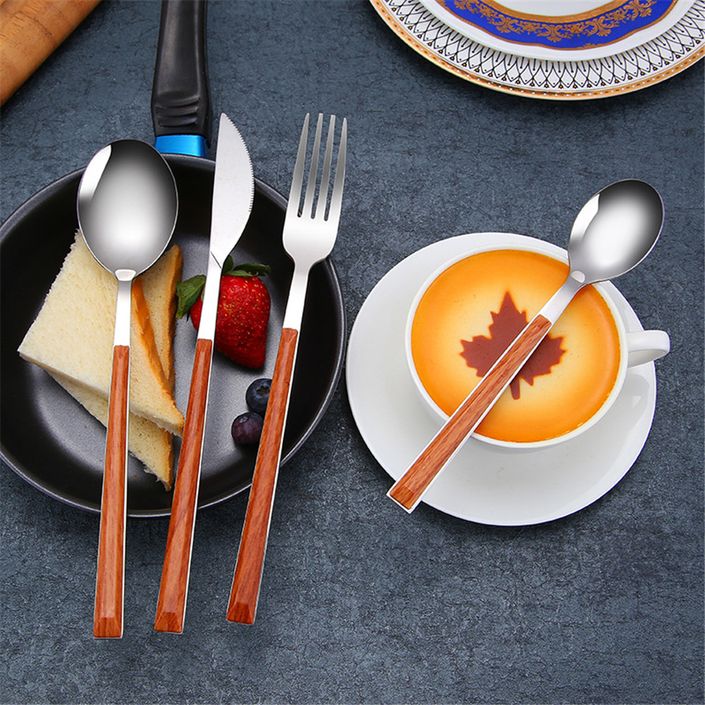304 Stainless Steel Glossy Tableware Set  Wood Marble Pattern Silver Dinnerware Sets Portable Food Knife Fork Teaspoon 4PCS