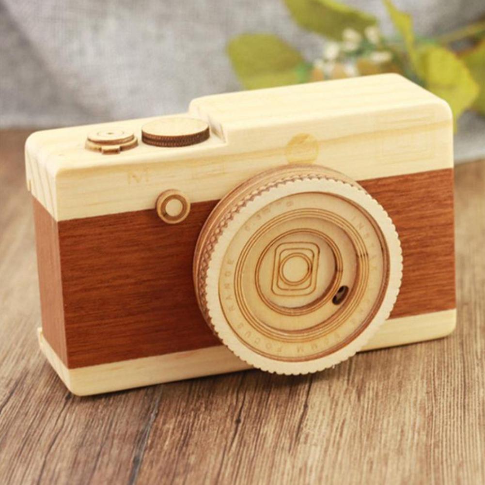 Классическая фигурка Idol камера музыкальная шкатулка из соснового дерева полу