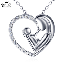 DELIEY Genuine 925 Sterling Silver Necklace Mother And Child Love Heart Pendant Necklace For Women Fine