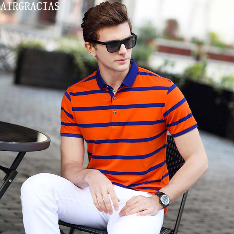 AIRGRACIAS 2017 Summer Mens   Polo   Shirts Cotton Striped Blue/Greeb/Orange Brand Clothing Men Short Sleeve Slim   Polos   S 1888