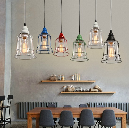 Edison Loft Style Iron Glass Pendant Light Fixtures Vintage Industrial Lighting For Dining Room Hanging Lamp Lamparas Colgantes iron cage loft style creative led pendant lights fixtures vintage industrial lighting for dining room suspension luminaire