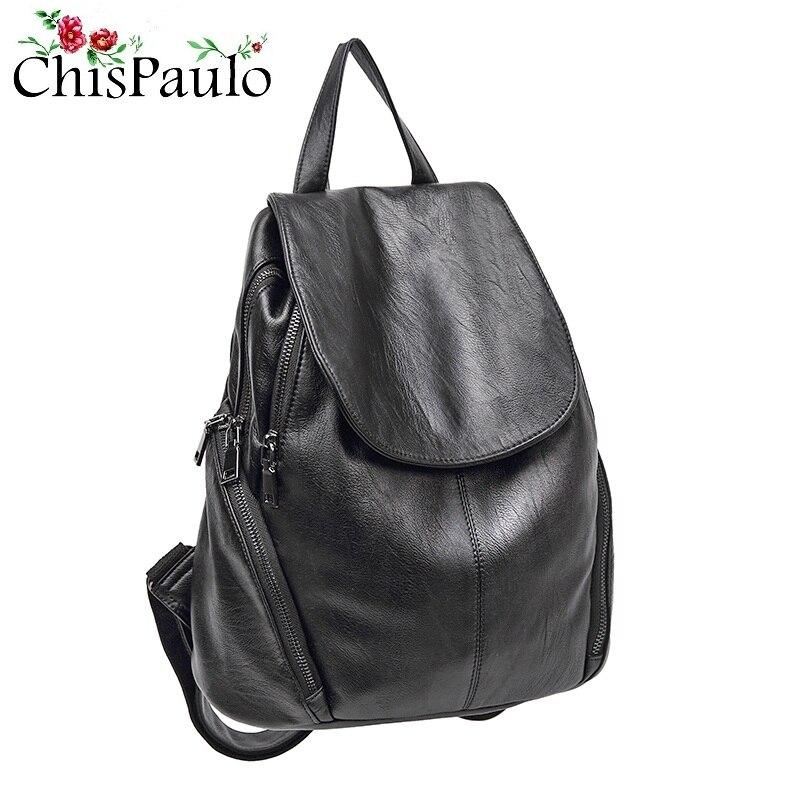 Luxe noir femmes sac à dos en cuir véritable motif Crocodile femme sac à dos élégant dame épaule sacs d'école pour les filles N033