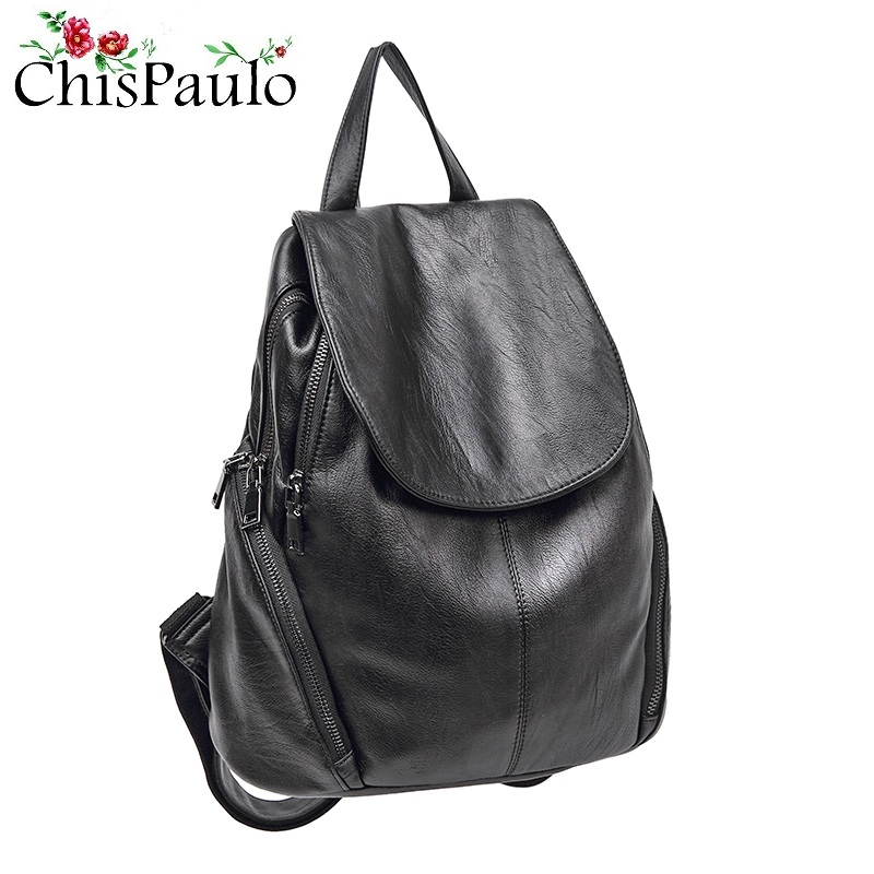 Joyloading Girls Solid Color Genuine Leather Children Preppy Students Schoolbag Shoulders Backpack