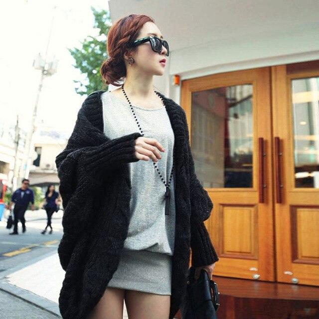 2017 Autumn Winter Women Loose Oversized Knitted Sweater Batwing Sleeve  Crochet Sweater Open Stitch Tops Cardigan Outwear Coat b32be165e