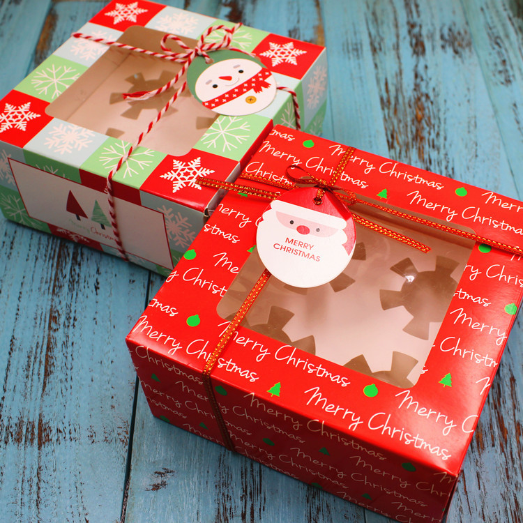 1 pieces Christmas cake box 4 cups cake packaging box Cupcake open window cake box