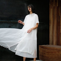 CH304 оригинальный Дизайн Лето 2017 Смотреть через линию свободные длинные с коротким рукавом Лен и шелк лоскутное белая рубашка платье женские