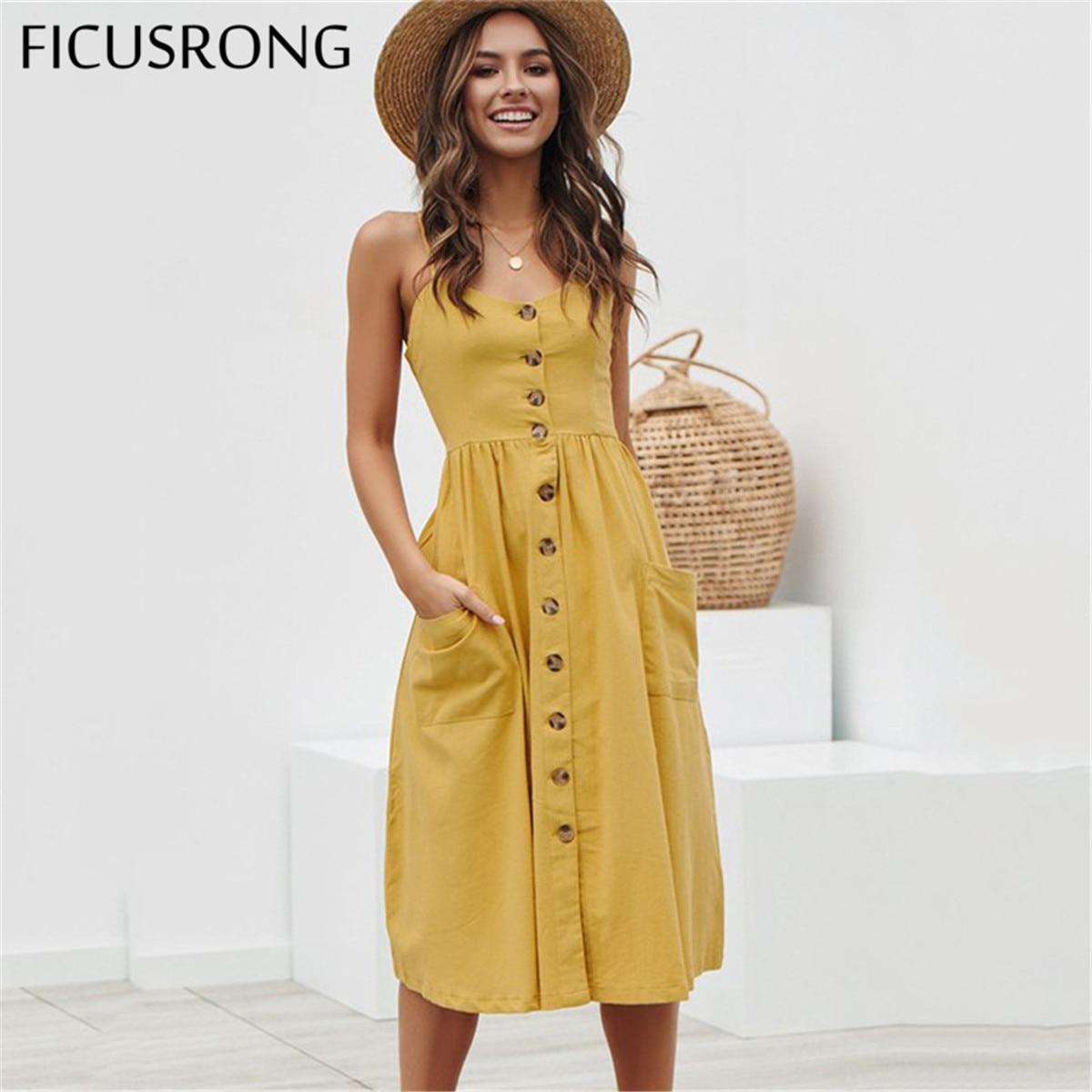 Elegant Button Women Dress Polka Dots Red Cotton Midi Dress 2019 Summer Casual Female Plus Size Lady Beach vestidos FICUSRONG 1