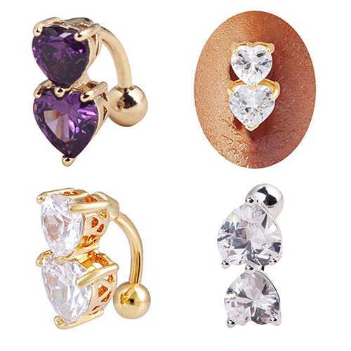 שני לבבות כפתור הפוך קריסטל זירקון בר בטן טבעת זהב פירסינג כפתור טבור סקסי חם