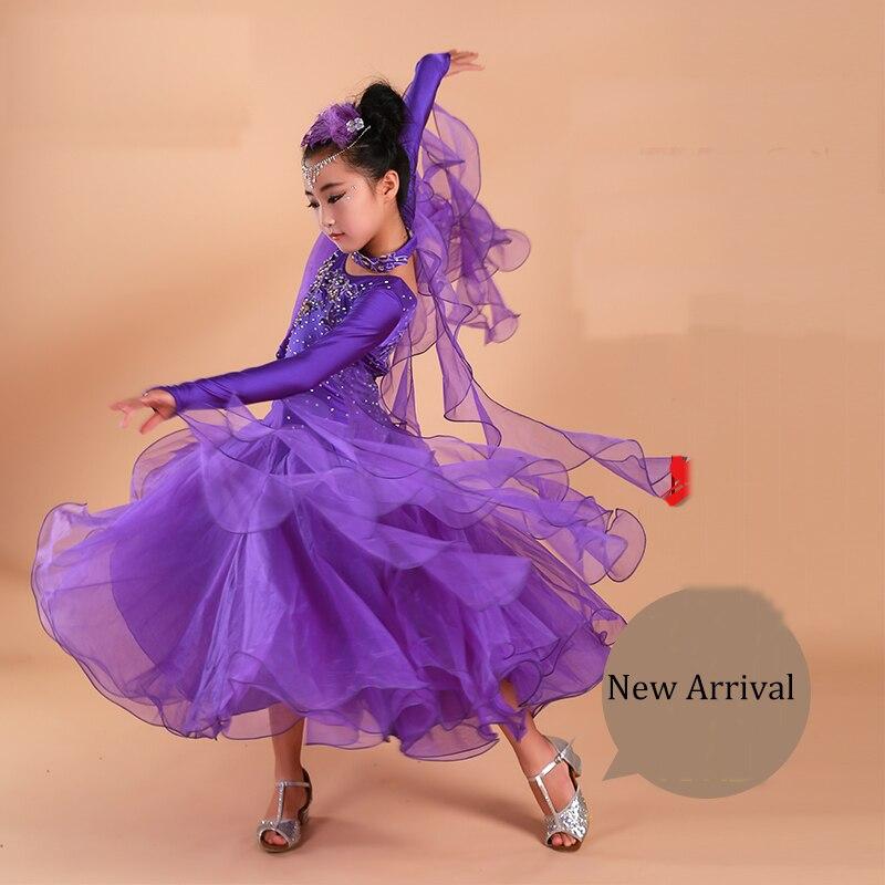 2018 Ballroom Dance Dresses For Girls 3pcs(Dress+Necklace+Arm Wear) Vestido De Formatura Flamenco Dance Skirts Dance Wear