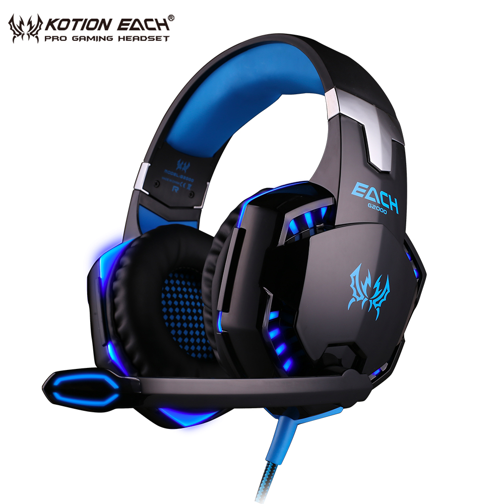 KOTION EACH G2000 LED Light Gaming Headset PC Gaming Headphones with Microphone Stereo 3.5mm Earphone Noise Canceling Headphone