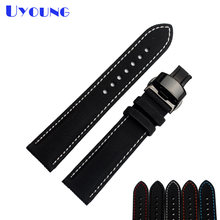 waterproof nylon watch strap bottom genuine leather watchband 20 21 22 23mm wristwatches band black stitched Butterfly buckle(China)