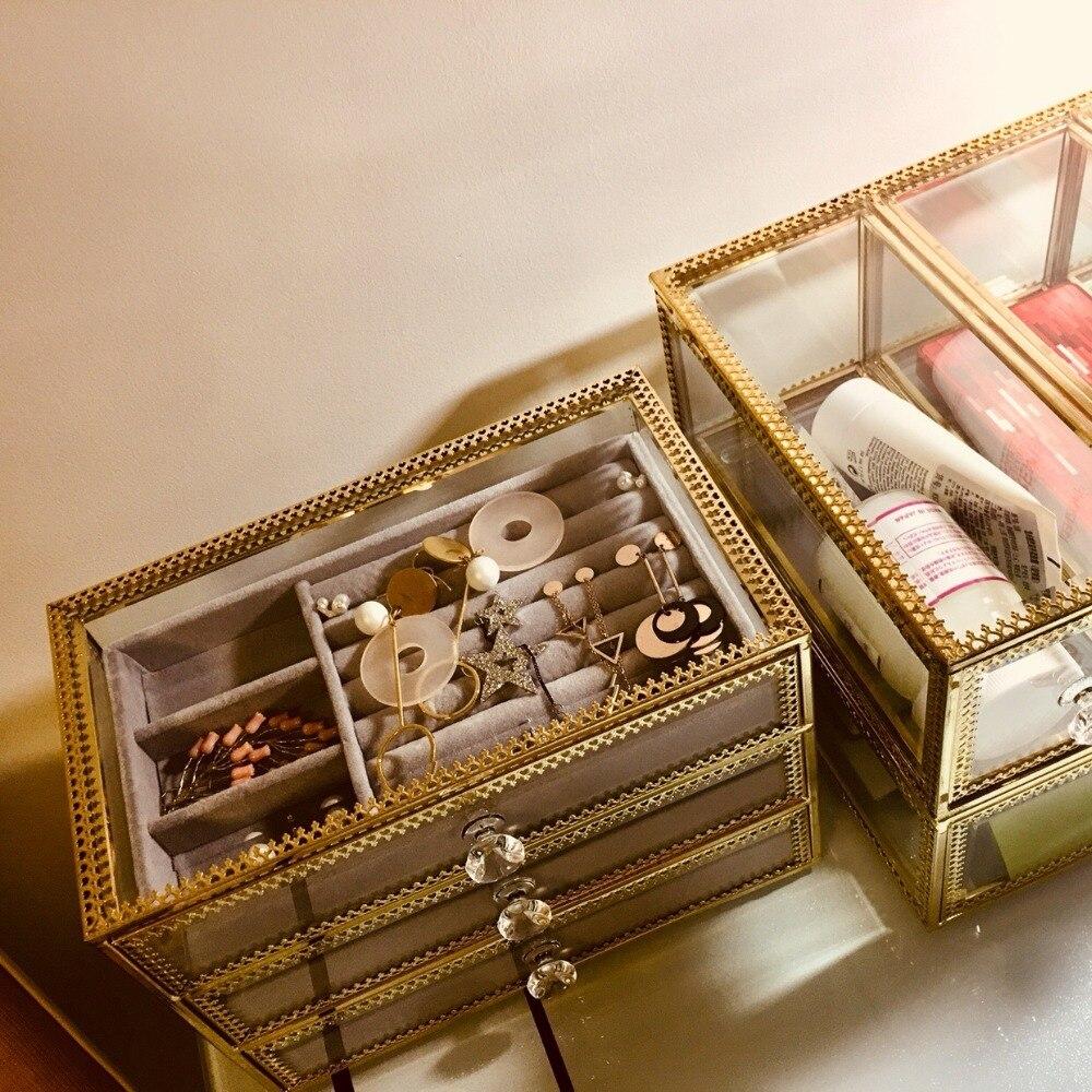 Organisateur de maquillage boîte de rangement boîte à bijoux De Stockage Main Bijoux Quotidien boîte de rangement Simple Verre Avec Flanelle boucles doreilles à tige