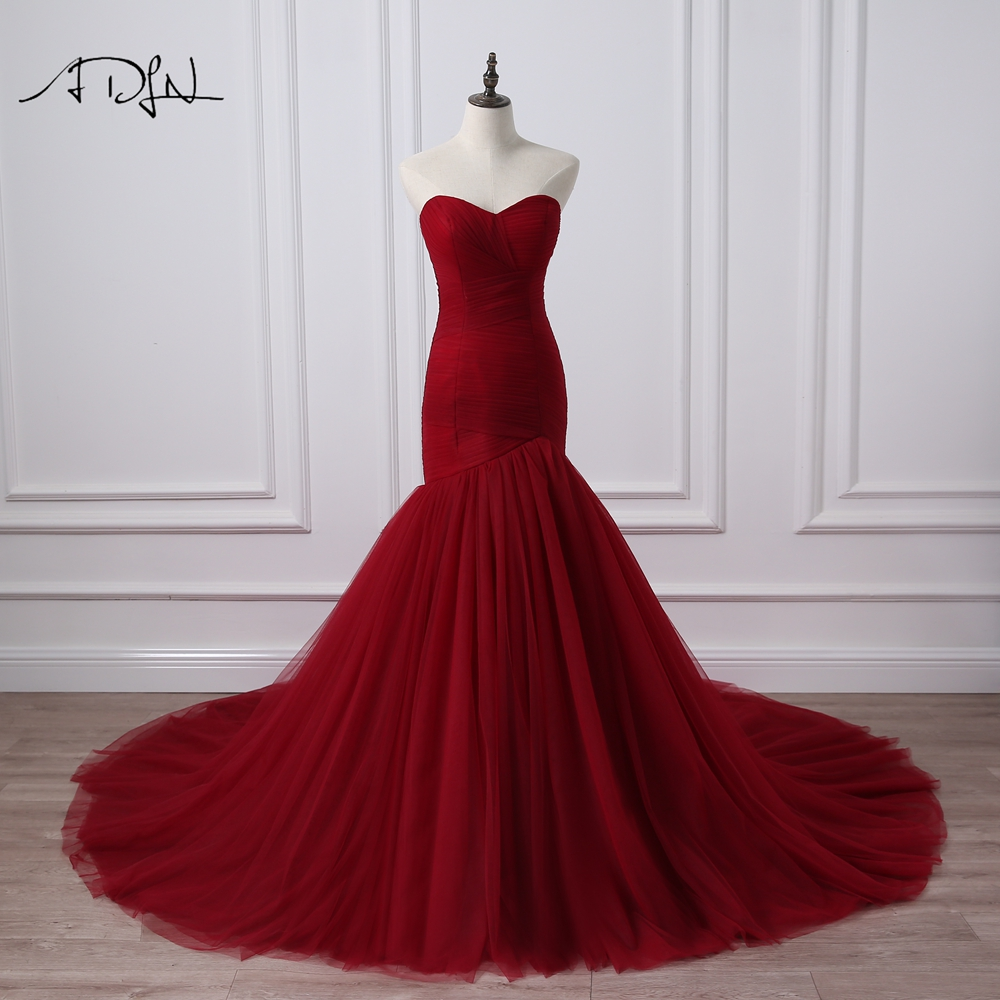 ADLN Real Photo Korsett Bodice Mermaid Wedding Dress Burgundy Bridal Gowns Robe De Mariage Rouge Plus Storlek Tillgänglig