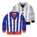 New Arrival Boy Sweater Cardigan Boys Winter V-Neck Wool Sweatercoat Kids High Quality Striped Knitted Sweater Children Clothing